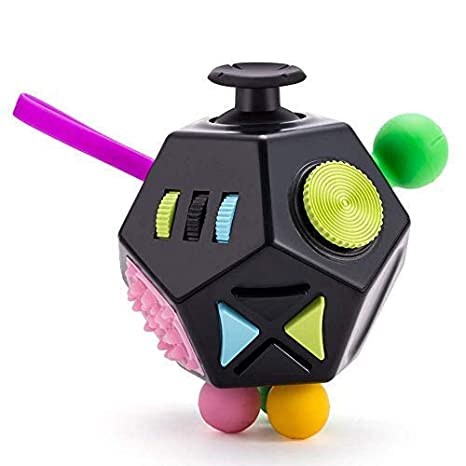 6ad3320d3cc12 12 Sides Fidget Cube Toys,Relieves Stress and Anxiety for Kids,Teens and  Adults with ADD,OCD,ADHD,Autism (Black/B2)