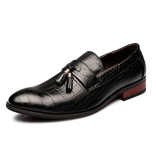 Mocassini Enllerviid Slip On Mocassini Con Nappe In Pelle Classico Scarpe Oxford Brogue Dress 8607 Nero