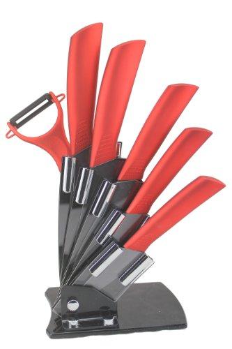 (Melange 7-Piece Ceramic Metal Red Handle Black Blade Knife Set with 5-Inch Slicer and)