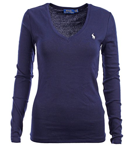 Polo Ralph Lauren Womens Perfect Long Sleeve V Neck T-Shirt (Large, Navy Blue)