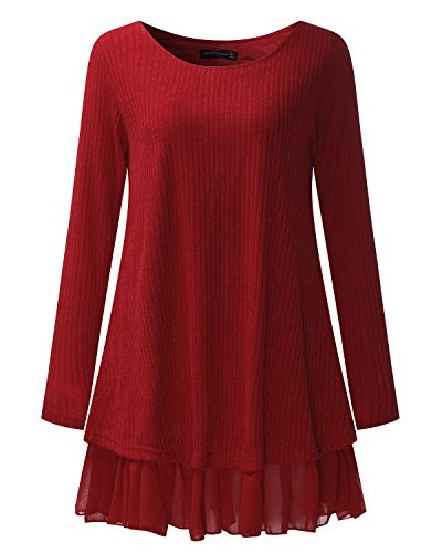 Mujer Corto ZANZEA Gasa Cuello Algodón Largas Elegante Lazo Vestido Mangas Redondo Burdeos Casual 6OdwO1q