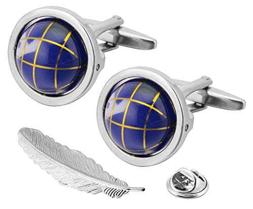 (Gemony Men's Really Spins Rhodium Plated Blue Globe Earth Cufflinks for Men with a Gift Box(DT02))