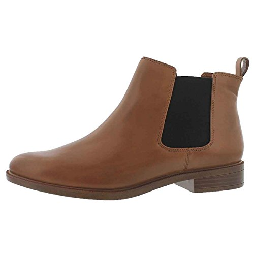 Clarks Women's Taylor Shine Chelsea Boot, Tan Leather, 7.5 M US Shine Leather Boots