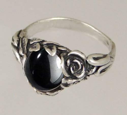 An Elegant Sterling Silver Gothic Ring Featuring Hematite Made in America