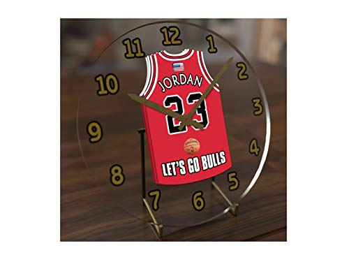 FanPlastic N B A Basketball Jersey Themed Clock - All Eastern Conference N B A Team Colours - Our Very OWN 'Let's GO' Range of Clocks !! (Let's Go Bulls Edition)