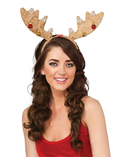 Reindeer Costume Santacon (Rubie's Costume Women's Clausplay Light Brown Antlers and Ornaments Light-Up Headband, Multi-Colored, One Size)