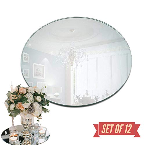 Round Mirror Plate - Set of 12 Round Mirror Trays - 8 inch Diameter, 1.5 mm Thick Rounded Edge - Perfect for Table, Wedding Centerpieces, Wall Decor, Crafts