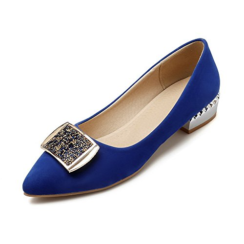 Pointed Heels Pumps Toe Frosted WeiPoot Low Women's on Closed Pull Solid Blue Shoes RxpTwq5