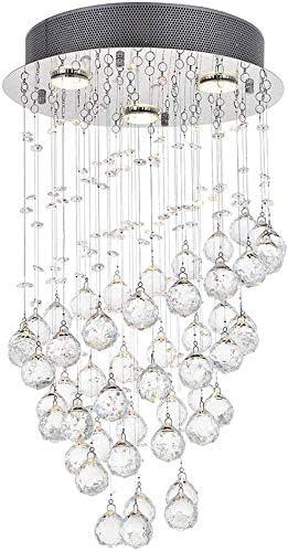 RUIXINBC Moderne kristall deckenleuchte kronleuchter mit k9 kristall rund Regentropfen einbau kristall anh/änger deckenbeleuchtung f/ür Schlafzimmer Wohnzimmer Badezimmer,30cm