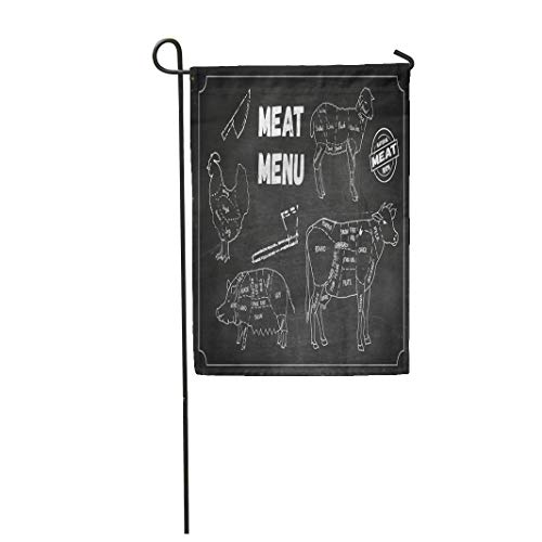 Semtomn Garden Flag Meat of Symbols Beef Pork Chicken Lamb Knife Axe 12