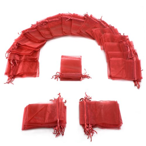 Red Gift Organza Bags (50 Pack of 4