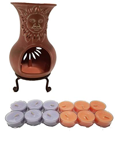 (ShoppeShare Miniature Sun Chiminea Tealight Holder Home Decor and Candles Bundle - Retired PartyLite)