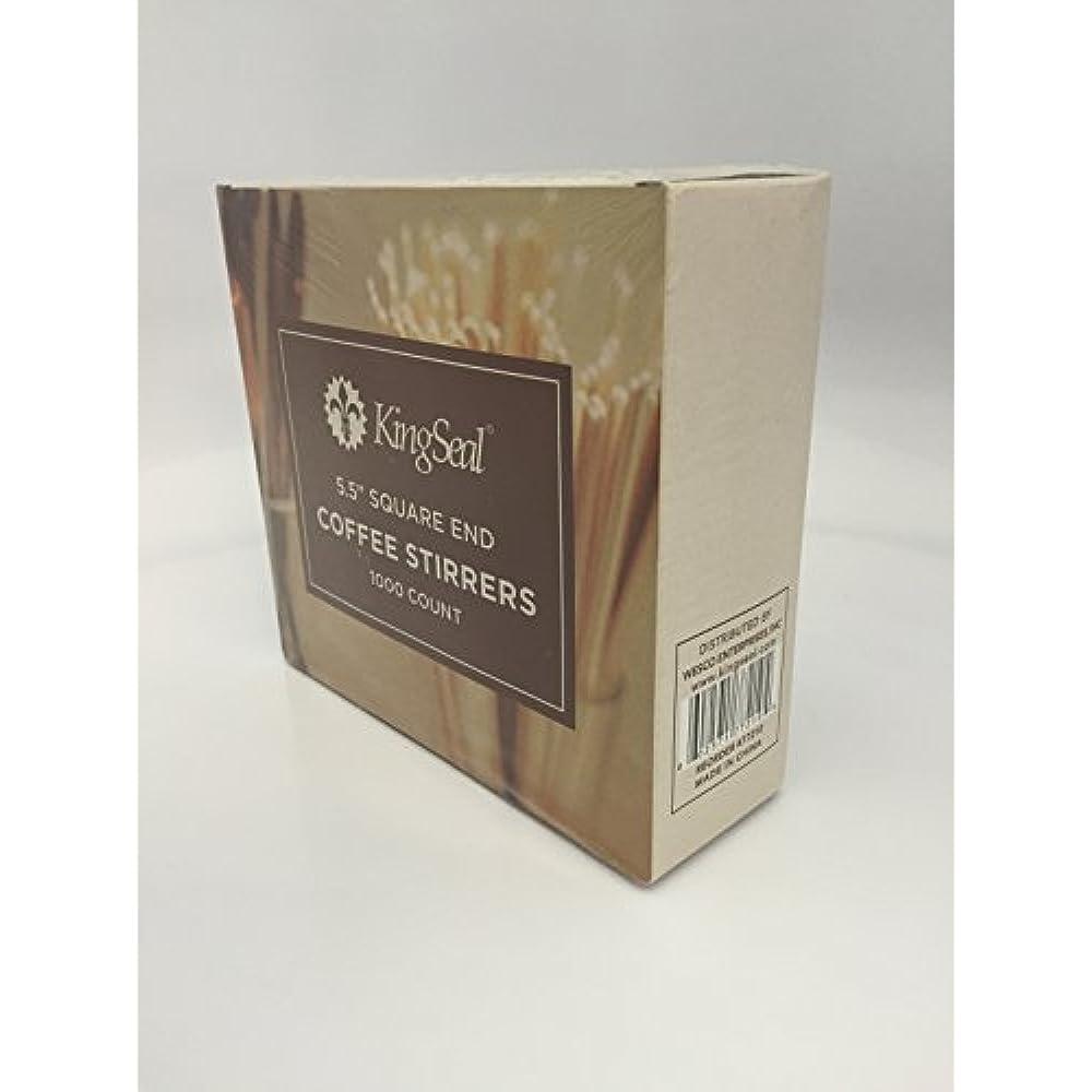 KingSeal Natural Birch Wood Coffee Stirrers Square En... Stir Sticks 5.5 Inch