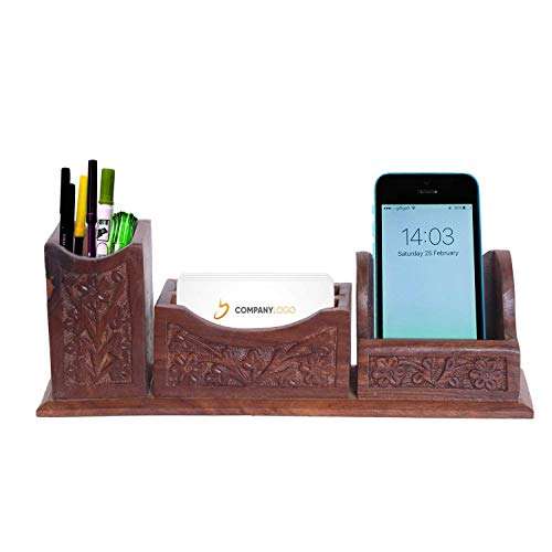 WILLART Handmade Wooden Desk Organizer| Pen Stand | Business Card Holder | Mobile Holder Stand with Leaf Work