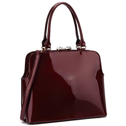 Red Rhinestone Kiss - Dasein Designer Vegan Leather Handbags for Women Kiss Lock Shoulder Bags Patent Satchel Rhinestone Purses