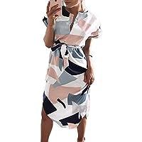 chvity Mujeres Cuello de pico de manga corta para diseño de impresión geométrica vestido de trabajo diario