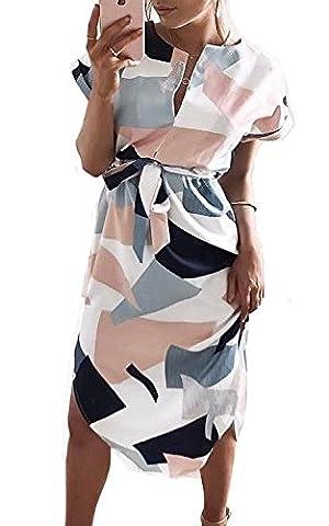 ZIKKER Women's V-Neck Floral Printed Casual Slim Geometric Pattern Dress (S, White) (Dresses With Geometric Pattern)