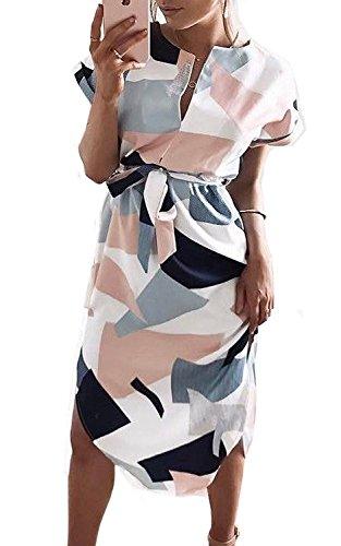 Chvity Women's V-neck Short Sleeve Geometric Print Design