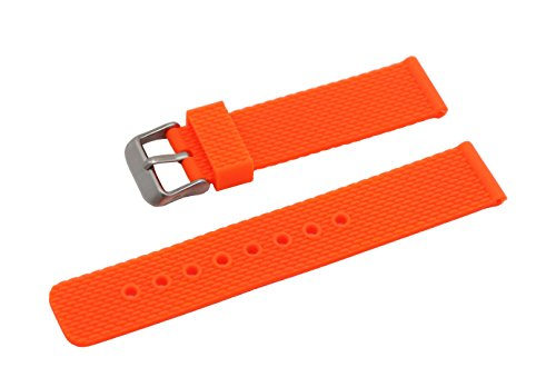 22mm Flexible Soft Rubber Watch Strap Healthy Silicon Smart Watch Band with Quick Release Pins in Orange (Bands Replacement Watch Armitron)
