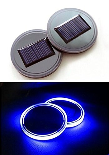 Solar LED Cup Holder Light Mat Pad Waterproof Car Cup Coasters Vibration Light Sensor Blue Pack of 2