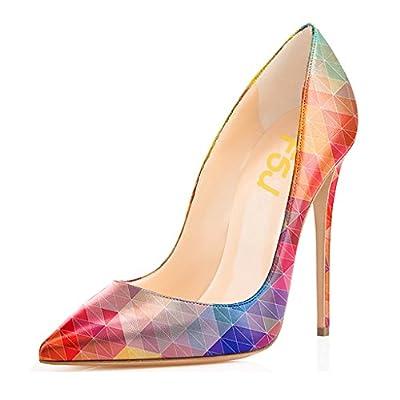 FSJ Women Fashion Pointed Toe Pumps High Heel Stilettos Sexy Slip On Dress Shoes Size 7.5 Pink-Multi