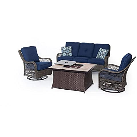 Hanover ORLEANS4PCFP-NVY-B 4 Piece Outdoor Orleans Woven Lounge Set with Fire Pit Table, Navy Blue - Orleans Patio Furniture