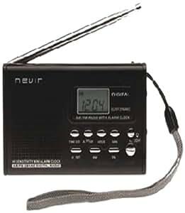 Nevir NVR-120 - Radio (Reloj, Analógica, AM, FM, 1,2W, LCD, Monocromo) Negro