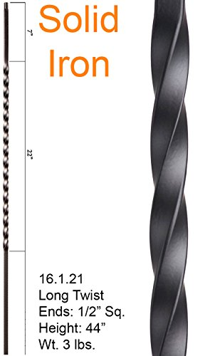 Wrought Iron Baluster - Satin Black 16.1.21 Long Twist Iron Baluster for Staircase Remodel , Box of 5