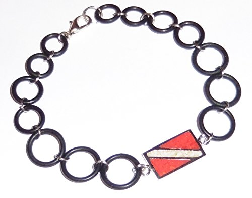 Red Chip Bracelet Coral (Dive Flag Anklet or Bracelet - Tarnish-Free Rhodium-Plated Bronze or Brass, with Inlay of Simulated Red Coral and Mother-of-Pearl Chips, with O-Ring