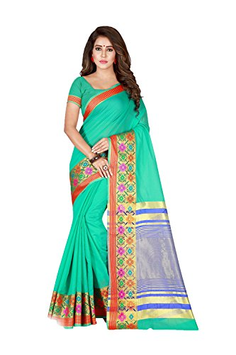Turquoise Sari Blue (Dessa Collections Indian Sarees for Women Wedding Designer Party Wear Traditional Turquoise, Blue Sari.)