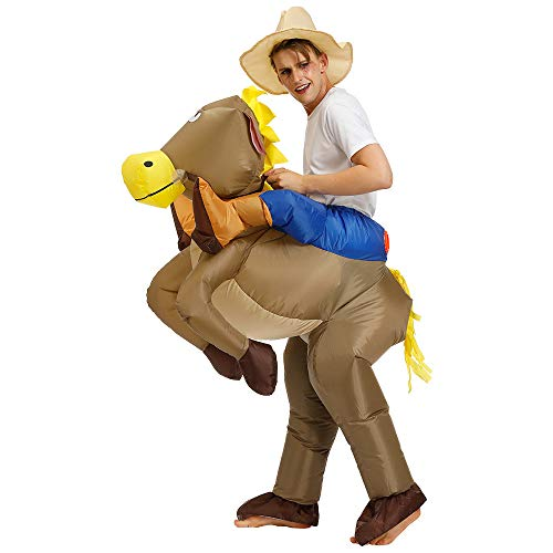 Inflatable Rider Costume Fancy Dress Funny Horse Cowboy Funny Suit Mount For Kids Adult]()