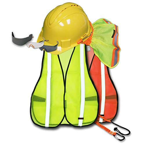 - KwikSafety (Charlotte, NC) TURTLE SHELL VEST KIT (10 Vents) Standard Cap ANSI Hard Hat, Safety Glasses, Vests, Tool Lanyard, Sunshade, Sweatbands, Earplugs Construction Gear, Type1, Class C, YELLOW