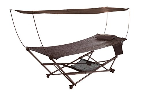 Bliss Hammock Stand (Bliss Hammocks Q-806BJr STOW-EZ Portable Hammock & 4 Point Stand with Canopy, Brown Jacquard)