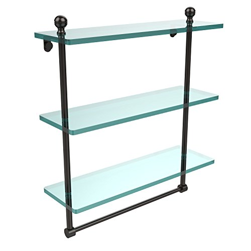 Allied Bronze Oil Rubbed Towel Bar - Allied Brass MA-5/16TB-ORB Mambo Collection 16 Inch Triple Tiered Glass Shelf with Integrated Towel Bar, Oil Rubbed Bronze
