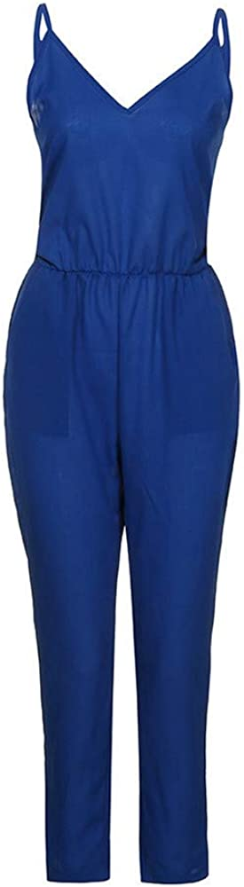 EU-5LDK Women Chiffon Playsuit Short Sleeve Jumpsuit,Blue,S,China