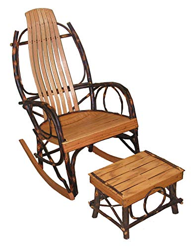 Amish BENTWOOD Rocker & Foot Stool - Hickory & Oak (Hickory Stools Chair)