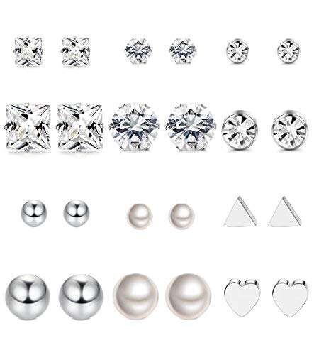 Steel Surgical Earrings Stainless (Thunaraz 12Pairs Surgical Steel Stud Earring Set Fake Pearl Earring Ball Triangle Heart CZ Earring Kit)