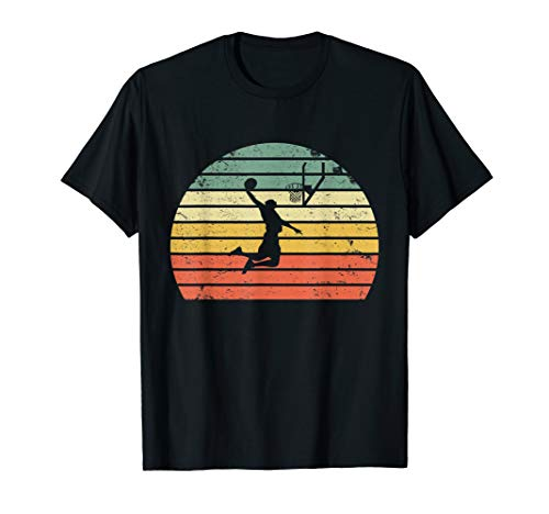 (Vintage Retro Basketball Dunk Shirt Sunset Colorful Tshirt )