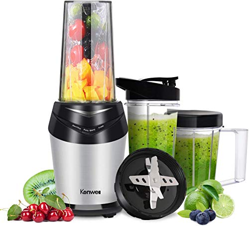 Kenwell Professional Personal Blender Countertop High-Speed Blender/Mixer System for Shakes and Smoothies, Auto-Blend Base for Ice and Frozen Fruit, Ice Crusher, Mixer, 23000 rpm with 3 BPA free Cups