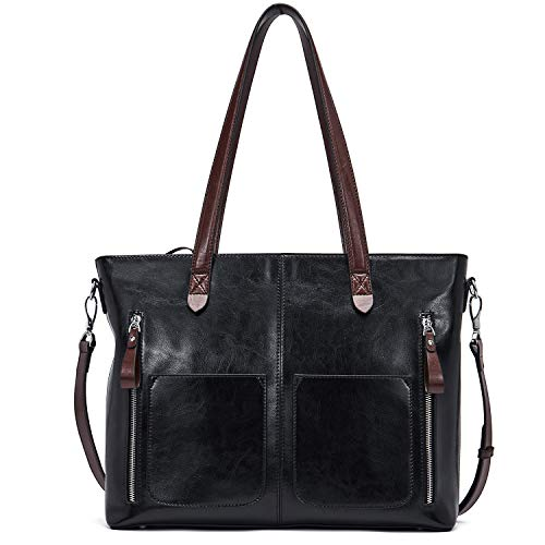 BOSTANTEN Leather Laptop Handbag 15.6 inch Shoulder Briefcase for Women Tote Satchel Bag Black