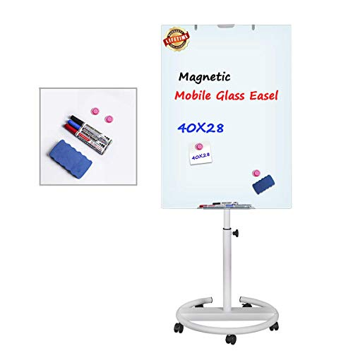Glass Dry Erase Board, Magnetic Mobile Glass Board Flip Chart Easel Height Adjustable White Board with Marker Tray, 1 Eraser, 3 Markers, 2 Strong -