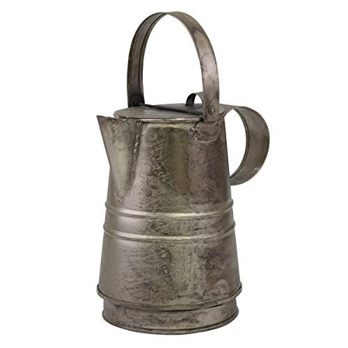 Stonebriar Decorative Antique Silver Metal Drinking Pitcher with Handle and Lid, Rustic Industrial Home Decor Accents ()