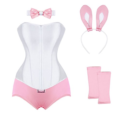 [Kimring Women's Plus Size 5 Pieces Tuxedo Pretty Pink Bunny Outfit Pink Medium] (Bunny Suit Sexy)