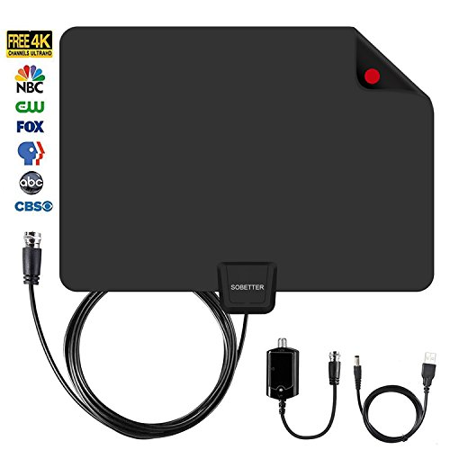 HDTV Antenna, Sobetter 50~80 mile Long Range Reception,Detachable Singal Booster Digital TV Antenna 2018 Newest with USB power supply,13.5ft Coax Cable Support 4K 1080p & All Older TV's for Indoor by Sobetter