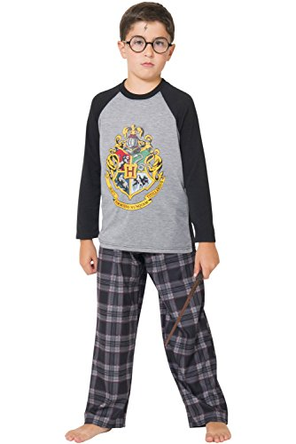 Harry Potter Big Boys Hogwarts Magic Wizard House Crest' Plaid Pajama Set, Gray, 10/12