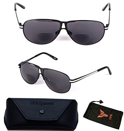 (#SunRead101) 1 Pair Aviator Men Women Metal Frame Sun Readers Sunglasses & Reading Glasses All In One (Strength: - Precription Glasses