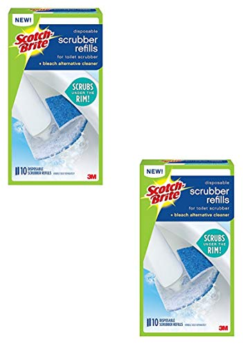 Scotch-Brite Disposable Toilet Scrubber for Scotch-Brite Toilet Scrubber Cleaning System, 10-Disposable Scrubber Refills - 2 Pack