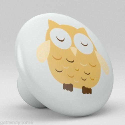 Cute Tan Retro Ceramic Knobs Nursery Pulls Kitchen Drawer Dresser Cabinet 1077 by gotrendyhome