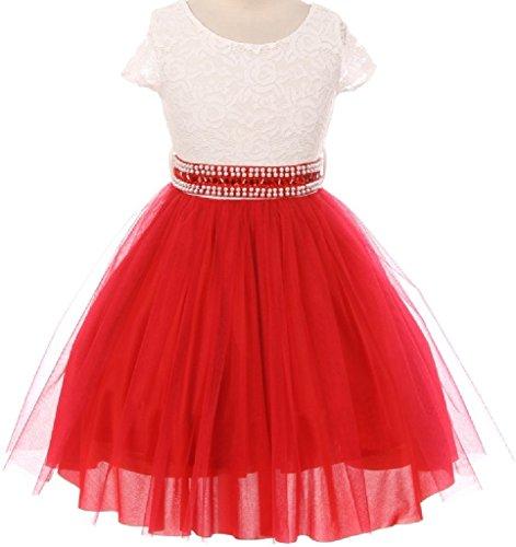 [Little Girl Cap Sleeve Lace Top Tulle Stone Belt Flower Girls Dresses (20JK45S) Red 4] (Romantic Bridals Flower Girl Dress)