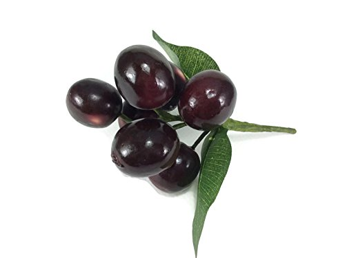 perfect2desire Cherry Red Artificial Fruit Lifelike Simulation Leaves Faux Fake Fruit Home Kitchen Cabinet Decoration Realistic Clay Assortment -